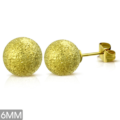 Gold Color Plated Stainless Steel Sandblasted Ball Circle Stud Earrings (pair)