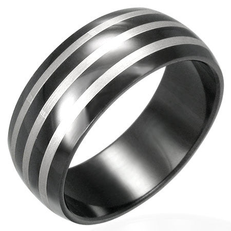 Black Stainless Steel Diagonal Half-Round Band Ring