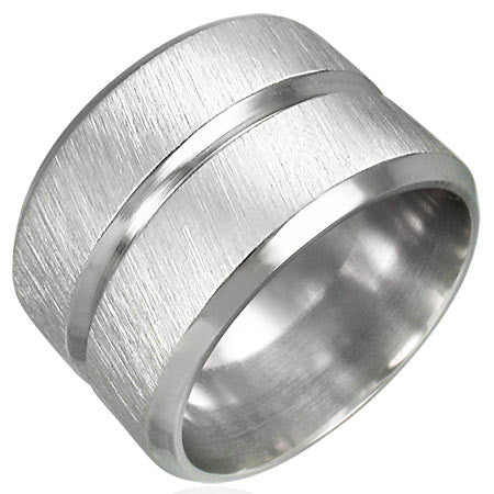 Stainless Steel Grooved Wide Band Ring