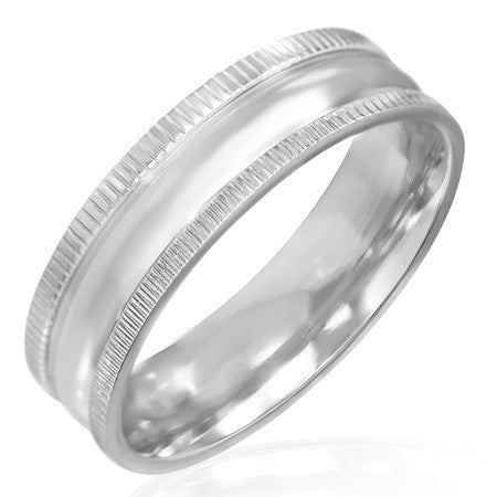Jewelworx 6mm Stainless Steel Engravable Milgrain Edges Band Ring