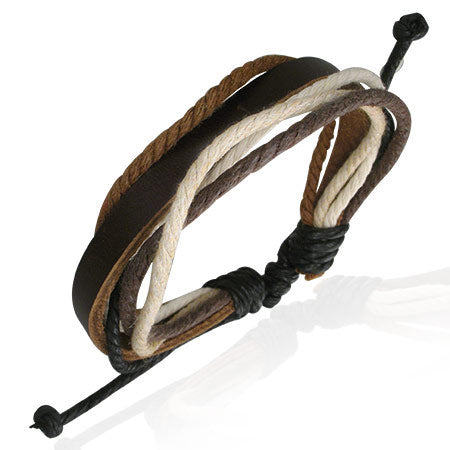 Multi Wrap Rope Leather Adjustable Bracelet