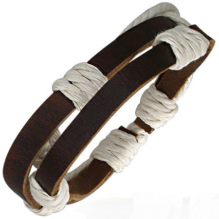 Double Wrap Rope Adjustable Brown Leather Bracelet