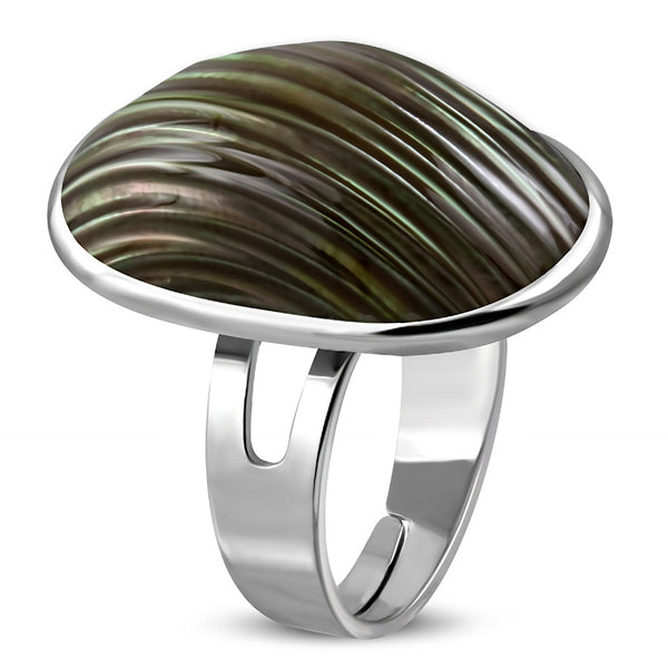 Sea Shell Brown Pearl Oval Dome Ring