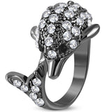 Jewelworx Fashion Alloy Crystal Dolphin Cocktail Ring with Clear Cubic Zirconia - Free Size