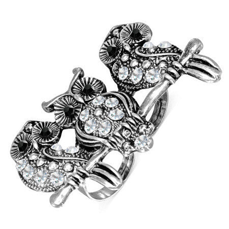 Owl Bird Two Finger Ring with Clear & Jet Black Cubic Zirconia