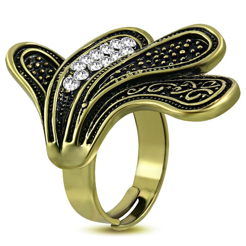 Spiral Leaf Vine Adjustable Fancy Ring with Clear Cubic Zirconia