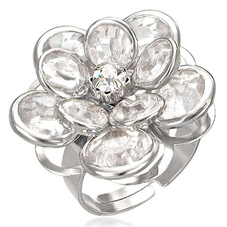 Water Lily Flower Ring with Clear Cubic Zirconia