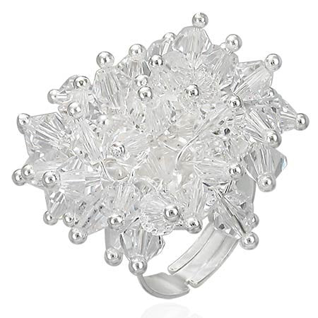 White Caviar Bead Cocktail Ring
