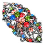 Multi-Layer Petal Crystal Sweet Flower Bouquet Cocktail Ring with Colourful Cubic Zirconia