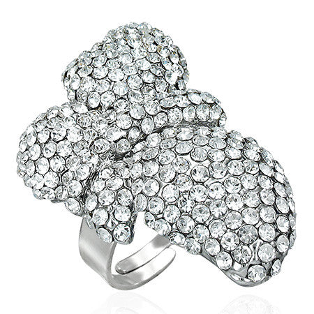 Jewelworx Fashion Alloy Crystal Flower Cocktail Ring