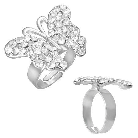 Jewelworx Fashion Alloy Crystal Butterfly Cocktail Ring