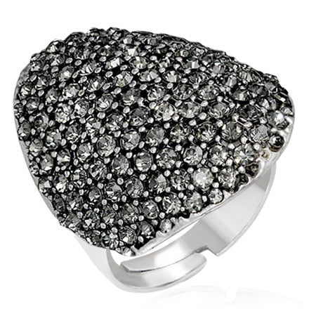 Pave-Set Mushroom-Style Cocktail Ring with Gunmetal Cubic Zirconia