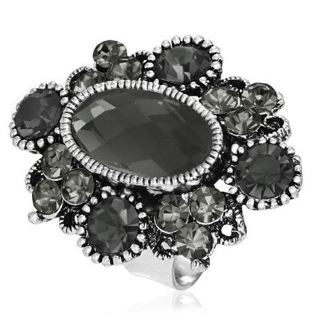 Bezel-Set Checkerboard-Cut Oval Flower Cocktail Ring with Grey Cubic Zirconia