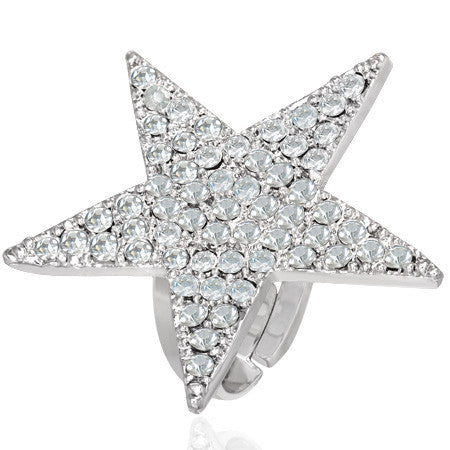 Crystal Star Cocktail Ring with Clear Cubic Zirconia