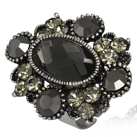 Oval Flower Cocktail Ring with Faceted Gunmetal Cubic Zirconia