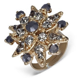 Star Flower Cocktail Ring with Gunmetal Cubic Zirconia