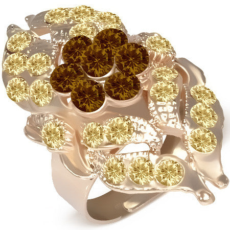 Crystal Flower Oval Cocktail Ring with Topaz Cubic Zirconia