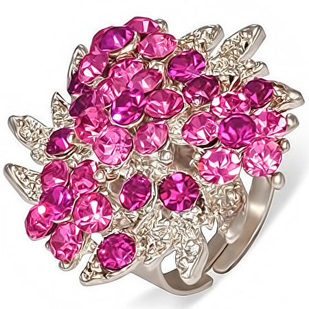 Crystal Flower Cocktail Ring with Rose Pink Cubic Zirconia