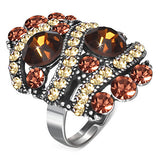 Crystal Circle Spiral Oval Cocktail Ring with Topaz Cubic Zirconia