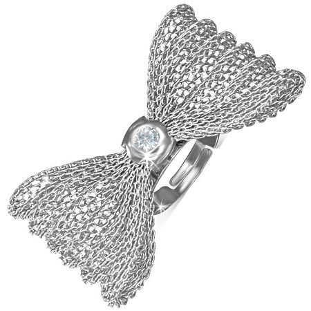 Bow/Ribbon Mesh Adjustable Fancy Ring with Clear Cubic Zirconia
