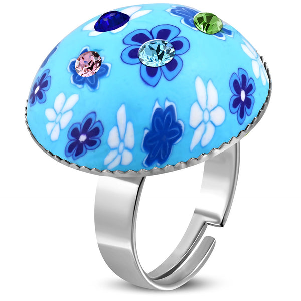 Fimo/Polymer Clay Flower Circle Ring with Colourful Cubic Zirconia