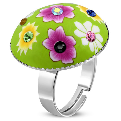 Fimo/ Polymer Clay Flower Circle Ring with Colourful Cubic Zirconia