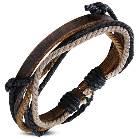 Colorful Wrap Rope Adjustable Brown Leather Bracelet