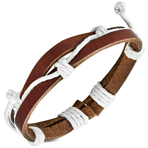Adjustable Brown Leather Bracelet