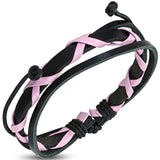 Criss Cross Wrap Pink & Black Leather Adjustable Bracelet