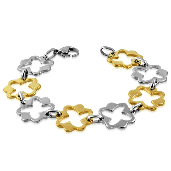 Stainless Steel 2-tone Cut-out Flower Star Link Chain Bracelet
