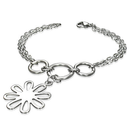 Stainless steel flower bracelet