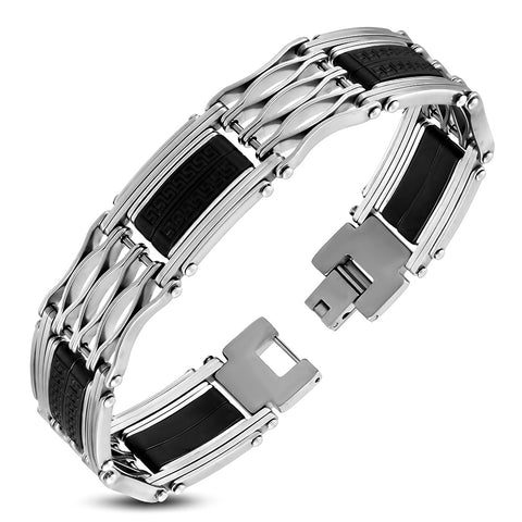 Stainless Steel with Black Rubber Panther Link Bracelet