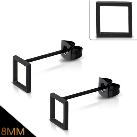 Black Stainless Steel Square Stud Earrings (pair)