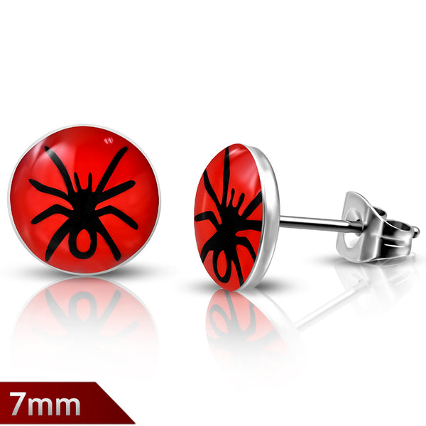 3-tone Spider Circle Stud Earrings (pair)