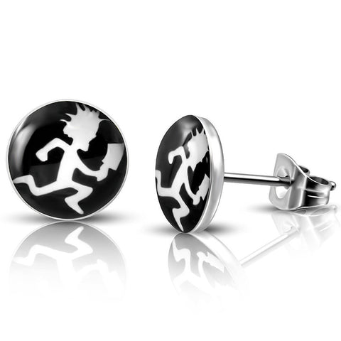 Stainless steel hatchet man stud earrings