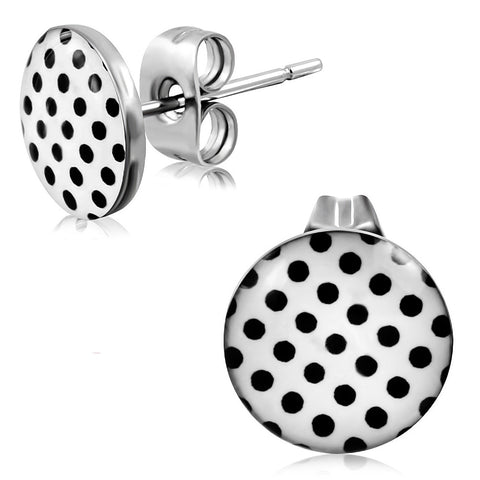3-tone Black Dot White Circle Stud Earrings (pair)