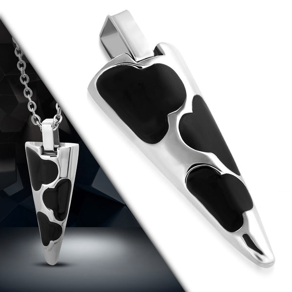 Stainless Steel Black Enameled Triangle Cone Pendant