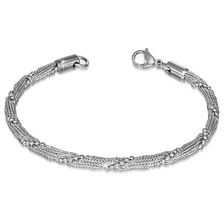 L-22cm W-4mm | Stainless Steel Military Link Chain Mesh Bracelet