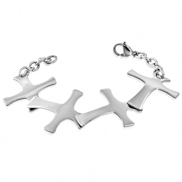Stainless Steel Engravable Pattee Cross Link Chain Bracelet