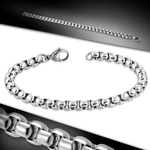 Stainless Steel Rolo Link Chain Bracelet