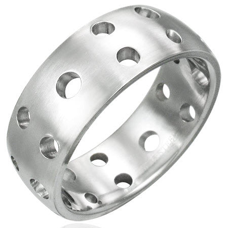Stainless Steel Cut-Out Circle Half-Round Band Ring