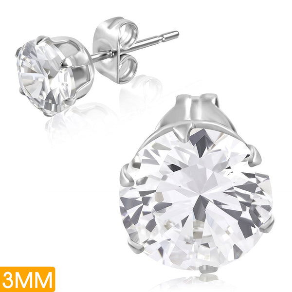 3mm | Stainless Steel Prong-Set Round Circle Stud Earrings with Clear Cubic Zirconia (pair)