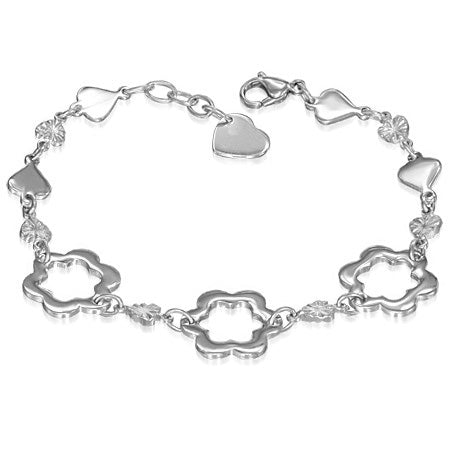 Stainless Steel Cut-out Star Flower Love Heart Link Chain Bracelet