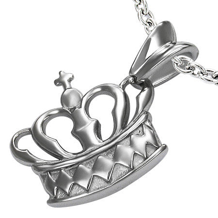 Stainless Steel Cross Princess Crown Pendant