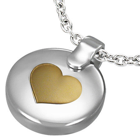 Stainless Steel 2-Tone Love Heart Circle of Life Pendant