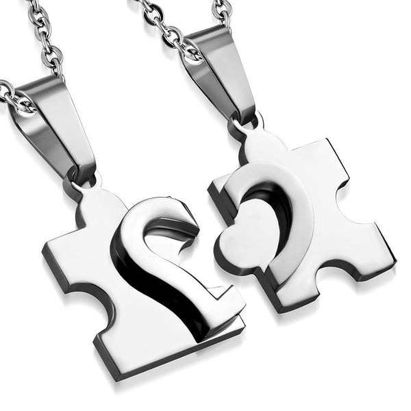 Stainless Steel 2-Part Love Heart Puzzle Jigsaw Couple Pendant