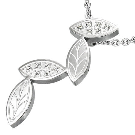 Jewelworx Stainless Steel Leaves Pendant with Cubic Zirconia