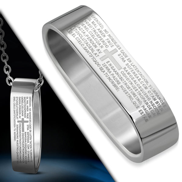 Stainless Steel Stainless Steel The Lords Prayer In Spanish Pendant