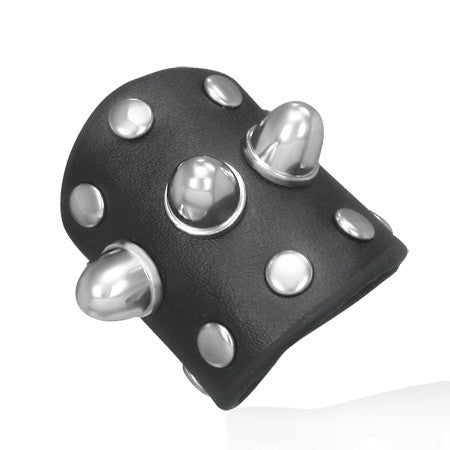 Black Leather Cone Stud Snap Ring
