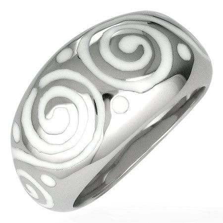 Jewelworx Stainless Steel 2-Tone Geometric Spiral Dome Ring